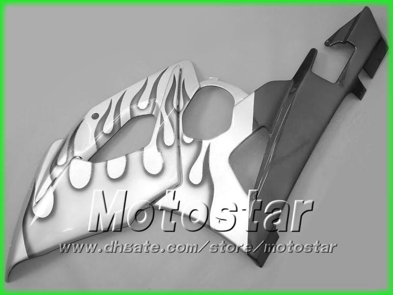 Czarne płomienie Srebrne Ogrodzenia dla Suzuki 2005 2006 GSXR 1000 K5 GSXR1000 GSXR 1000 05 06 Nadwozie