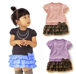Wholesale Dot Cake Skirt - 2016 new Beautiful Lovely baby girls fashion bow dots cake one-piece dress children kid summer cotton skirt clothing 3 colour