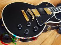 Wholesale Oem Ebony - NEW 48hr Dispatch Custom Electric Guitar in black Ebony fingerboard WITH CASE OEM Available Chinese guitar