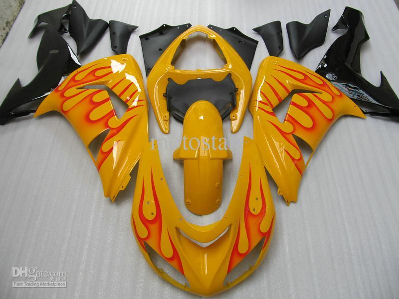 7 gåvor! Hot Sälj Red Flames Yellow Fairing Kit för Ninja ZX-10R 06-07 ZX10R 06 07 ZX 10R 2006 2007 Fairings
