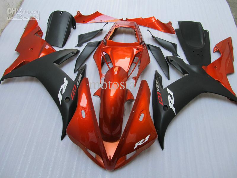 Płaskie czarne pomarańczowe motocykl nadwozie dla Yamaha YZF R1 2002 2003 YZFR1 02 03 YZF-R1 Pełny zestaw obudowy + bezpłatny prezent