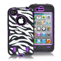 Wholesale Iphone Defender Case Zebra - 30pcs Zebra hard soft protector Defender Case Skin Cover for Iphone 4 4s DHL Free shipping