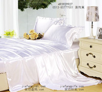Hot selling White Mulberry silk satin bedding set luxury king queen size bed in a bag sheets duvet cover quilt bedspreads bedsheets bedroom linen