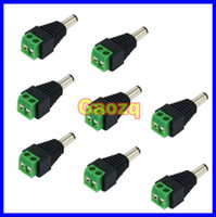 Wholesale Plug Adaptor Dc Male - 100pcs Lot 2.1mm DC Jack Adaptor Connector Plug with Marked Polarity for CCTV Security Camera
