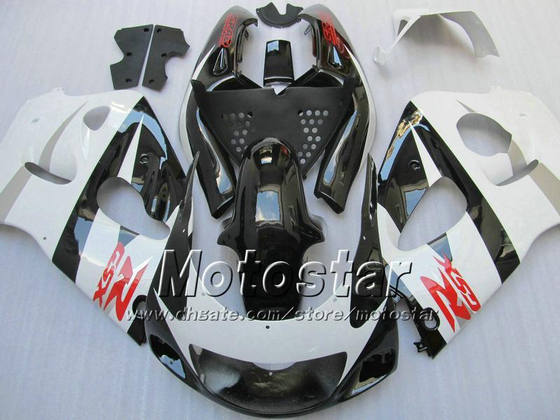 Black White Fairing Kit voor Suzuki GSXR600 GSXR750 1996 - 2000 Srad Backings GSXR 600 750 96 97 98 99 00 GSX-R600 Aangepaste Valingen