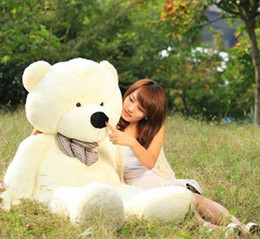 "Wholesale Big White Teddy - Hot 100CM GIANT HUGE BIG SOFT PLUSH white TEDDY BEAR Halloween Christmas gift 39"" Valentine's day gifts"