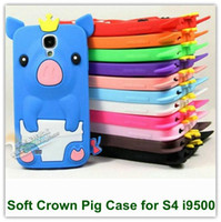 Wholesale Galaxy S4 Animal Cases - 10PCS Lot Cute 3D Crown Pig Pattern Animal Style Soft Silicone Case for Samsung Galaxy S4 i9500 Free Shipping