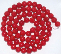 Wholesale Natural Coral Beads Loose - 4mm,6mm,8mm,10mm 15inch natural Red Sea Coral Gemstone Round Ball Loose Beads