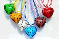 Wholesale Murano Love Heart Pendant - 12pcs lots Mixed Color Cute Love Heart Shape Colorful Dot Murano Glass Pendant Silk Cord Necklace Jewelry NL10