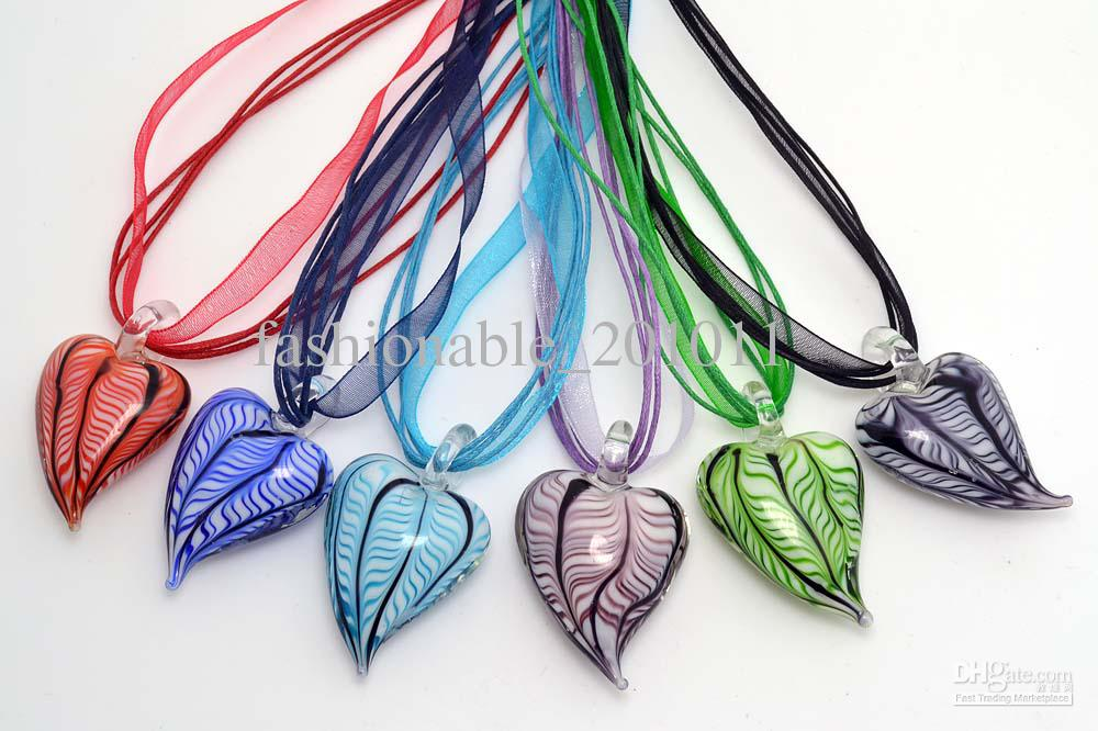 Wholesale mixed color cute love heart shape hot pepper murano 6pcs lots mixed color cute love heart shape hot pepper murano glass pendant silk cord necklace jewelry nl5 mozeypictures Choice Image