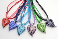 Wholesale Murano Love Heart Pendant - 6pcs lots Mixed Color Cute Love Heart Shape Hot Pepper Murano Glass Pendant Silk Cord Necklace Jewelry NL5