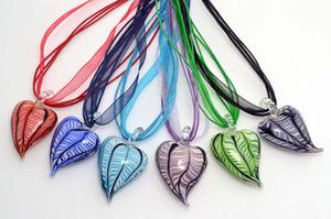 Wholesale 6pcs Mixed Color Cute Love Heart Shape Hot Pepper Murano Glass Pendant Silk Cord Necklace Jewelry NL5