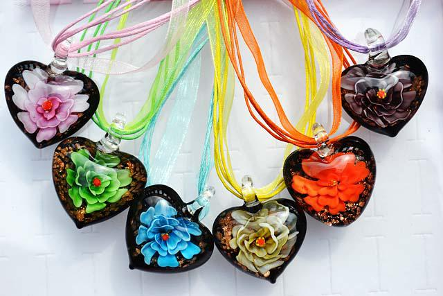 Ideal Wholesale New Multi Color Pretty Love Heart Shape 3d Flower Murano  FG51