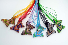 Wholesale Butterfly Murano Glass Pendants - Butterfly Silver Foil Glitter Lampwork Pendant Murano Glass Pendants Necklaces Silk Cord 6pcs lot New NL11
