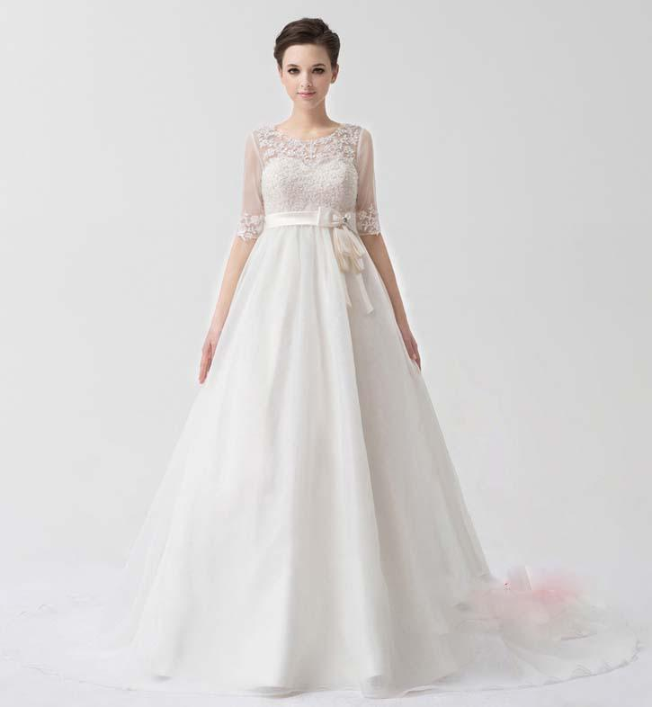 Discount Pregnant Women Strapless Wedding Dresses High Waisted