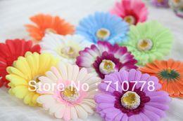 Wholesale Fabric Flower Brooch Diy - 200pcs 10C available 10cm Artificial Simulation fake fabric African Daisy Flower Heads Diy Brooch Headwear Ring