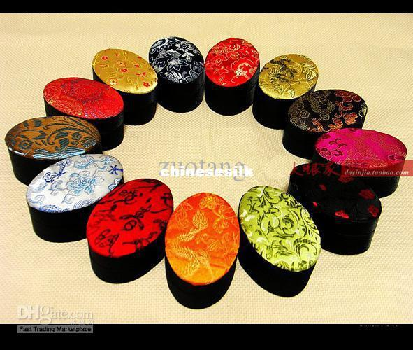 Oval Small Jewellery Box Bracelet Box Trinket Storage Boxes Silk Printed Gift Packaging Boxes size 8.2ix5.5 x5.5cm 10pcs/lot mix color Free