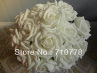 Wholesale Artificial Foam Roses - 200PCS 9color available flower arch Wedding bouquet artificial rose silk fake flower PE foam wedding car decor