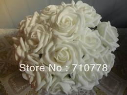 Wholesale Foam Arch - 200PCS 9color available flower arch Wedding bouquet artificial rose silk fake flower PE foam wedding car decor