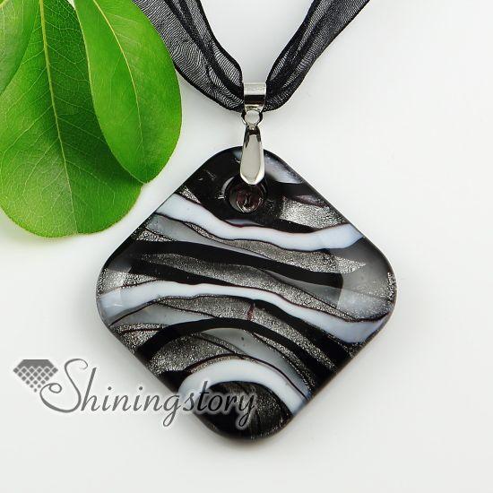 Quadrado folha de prata glitter com linhas handmade lampwork murano vidro colares pingentes baratos china moda jóias Mup1922YHU5