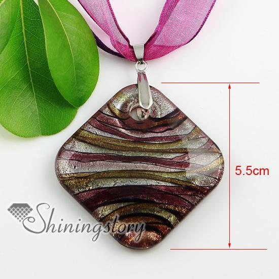 feuille d'argent carrée paillettes avec des lignes à la main au murwork en verre de murano colliers pendentifs pas cher Chine mode bijoux Mup1922YHU5