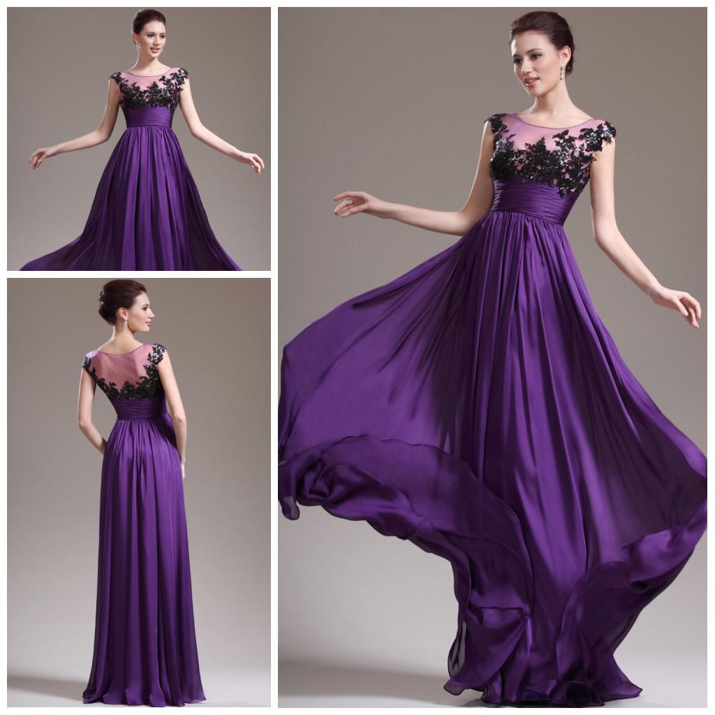 Purple Hot Sale Scoop Empire Full Length Chiffon See Through ...