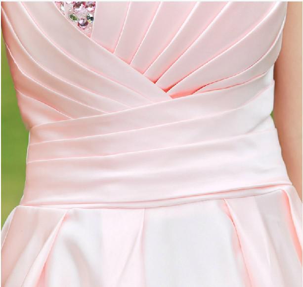 NOUVEAU CHECK BANDER ROSE ROSE BANDERS SANGANT SANGANT SANCHE SANS SAND-UP RUBLES PERLES SATIN MINI A-LINE Robes de demoiselle d'honneur / Robes de soirée de mariage