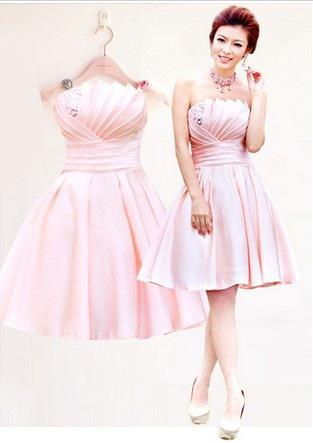 Nieuwe goedkope licht roze strapless elegante mouwloze lace-up ruche kralen satin mini a-line bruidsmeisje jurken / bruiloft jurken