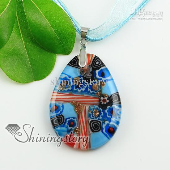 water drop glitter millefiori lampwork murano glass necklaces pendants High fashion Ladies italian venetian blown jewelry Mup1962YHA2