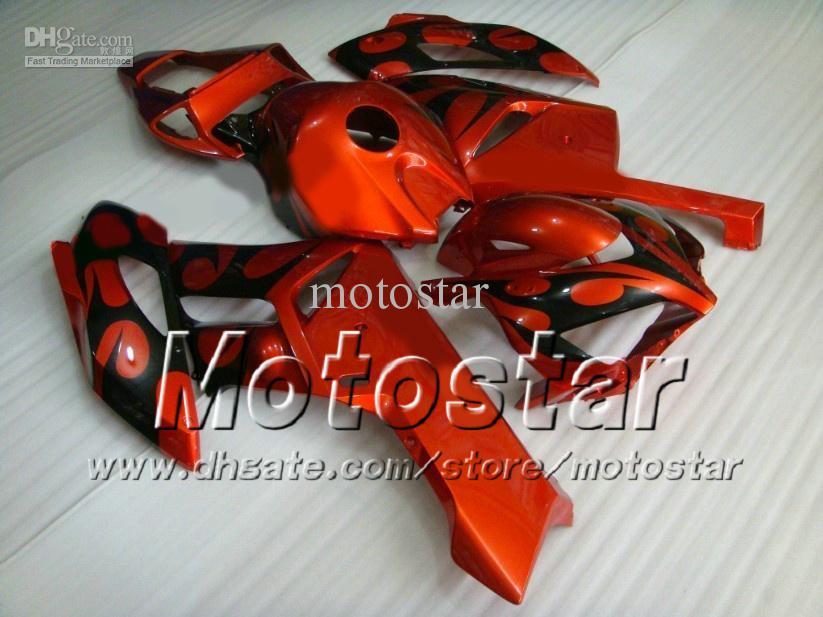 7 presentes carroçaria para HONDA Carenagem CBR1000RR 04 05 CBR 1000RR 2004 2005 preto chama em vermelho personalizado Motocicleta Carcaças ad30