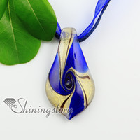Wholesale Leaf Pattern Pendants - leaf swirled pattern glitter handmade murano glass necklaces pendants Ladies italian venetian blown handmade jewelry Mup2022HY5