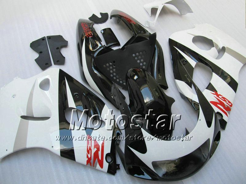 Svart White Fairing Kit för Suzuki GSXR600 GSXR750 1996 - 2000 SRAD Fairings GSXR 600 750 96 97 98 99 00 GSX-R600 Anpassade Fairings