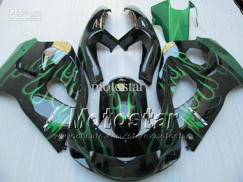 Green Flames Fairing Kit för GSXR600 750 1996-2000 GSXR 600 750 96 97 98 99 00 GSX-R600 96-00