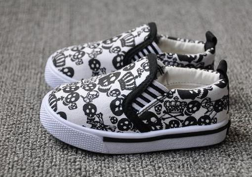 2017 Cool Skull Shoes Baby Toddler Shoes Children Canvas Shoes ...