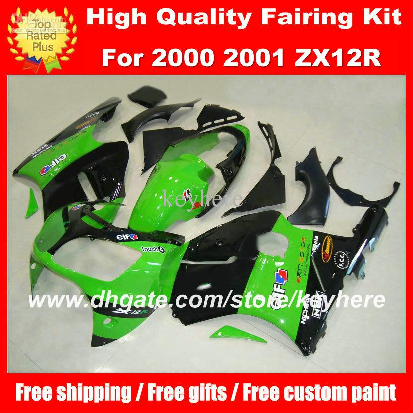 Personalizza kit carena in plastica ABS carena ninja ZX12R 2000 2001 ZX 12R 00 01 carene G2a nuova carrozzeria moto verde aftermarket nero