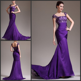 Wholesale Discount Dresses Back Zippers - Discount Cheap Purple Mermaid Evening Gown Mother Of The Bride Dress Formal Gown Chiffon Lace Top Free Shipping