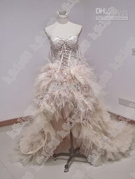 Wholesale Feather Bone - High-low Short Front Long Back Zuhair Murad prom Dress WeddingDress Feather Lace Up Corset real picture