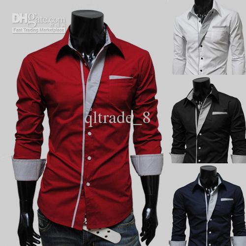 2017 2015 Mens Slim Fit Shirts Long Brand Discount Dress Shirts ...