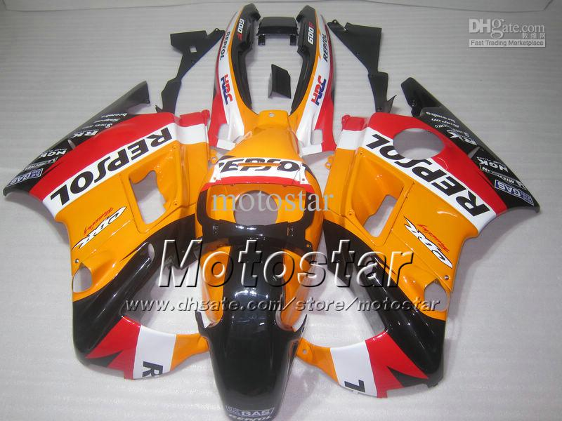 Motocycle fairings for HONDA CBR600 F2 91 92 93 94 CBR600F2 1991 1992 1993 1994 CBR 600 orange black Repsol custom fairings