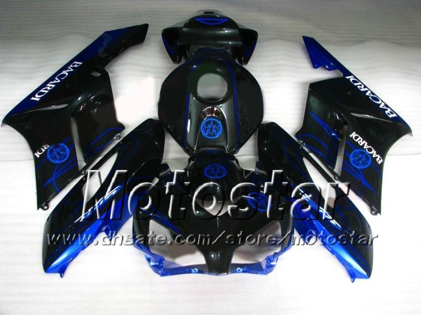 7 prezentów! Bacardi Blue Czarne formy wtryskowe ABS dla Honda CBR1000RR 2004 2005 CBR1000 RR CBR 1000RR 04 05