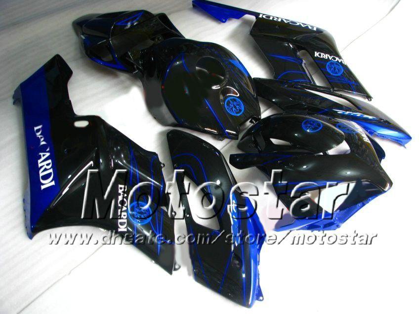선물 7 개! BACARDI 블루 블랙 사출 금형 ABS 혼다 용 CBR1000RR 2004 2005 CBR1000 RR CBR 1000RR 04 05