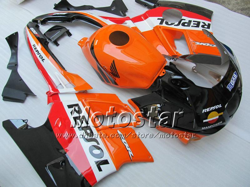 Carenature moto HONDA CBR600 F2 91 92 93 94 CBR600F2 1991 1992 1993 1994 CBR 600 arancione nero Carene personalizzate Repsol UU29