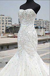 Wholesale Sweetheart Mermaid Rhinestone Wedding Dresses - 2013 Mermaid Wedding Dress Full Rhinestones Beaded,Custom made welcome