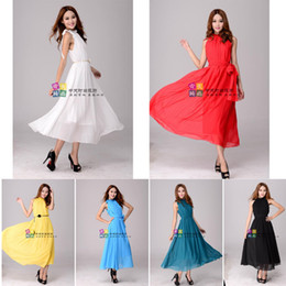 Wholesale Casual Maxi Dresses For Girls - 2013 Fashion Bohemia chiffon dress summer women's beach party dress Colorful Chiffon skirt for girls maxi dress with scarves and belt