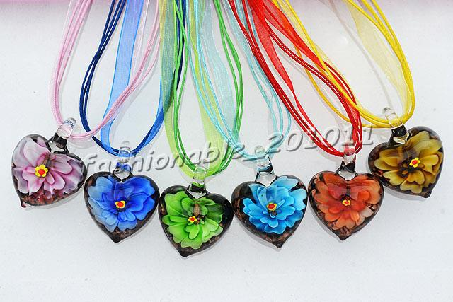Wholesale heart multi color lampwork murano glass 3d flower thick heart multi color lampwork murano glass 3d flower thick pendants necklaces silk cord 6pcslot new nl15 mozeypictures Image collections