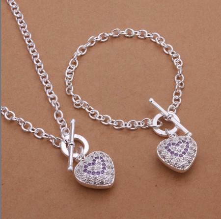 Topkwaliteit 925 Silver Rhinestone Crystal Heart Hanger Ketting Armband Mode-sieraden Set Valentijnsdag Gift voor Vrouwen Gratis verzending