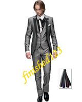 Wholesale Men S Blazer Pink - Hot Selling Light grey One button Peak Lapel Groom Tuxedos Groomsmen Men Wedding Blazer Suits Prom Clothing (Jacket+Pants+Vest+Tie) OK:747