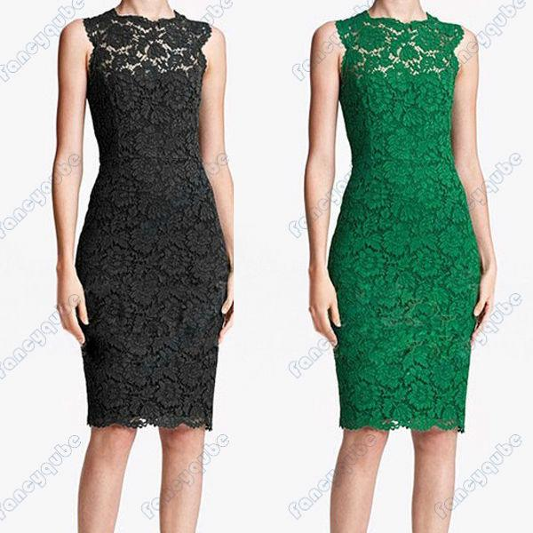 Images of green and black lace dresses