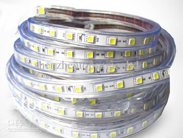 quality design 23ffe 4d9a2 50mSMD 5050 LED Strip 120V 220V 230V 240V LED Ribbon Waterproof Flexible  300leds/5M LED Tape Car Led Strip Lights Led Strip Light Kits From ...