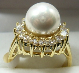 charming wonderful lady''s pearl gold crystal ring SZ all free shipping more color to choosec